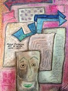 Drawn Pastels Prints - Nots Of Poems Print by Ahmed  Elzalabany