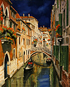 Venice Framed Prints - notte a Venezia Framed Print by Guido Borelli