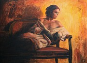 Woman Paintings - Notturno by Escha Van den bogerd