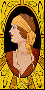 D.w Drawings Framed Prints - Nouveau Girl Framed Print by Troy Brown