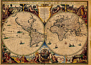 Map Art Photo Prints - Nova Totius Terrarum Orbis Geographica Ac Hydrographica Tabula Old World Map Print by Inspired Nature Photography By Shelley Myke