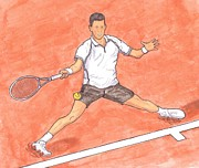 Us Open Painting Posters - Novak Djokovic Sliding on Clay Poster by Steven White