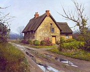 Rainy Day Prints - November Cottage Print by Michael Swanson