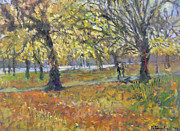 Fall Scenes Paintings - November in Hyde Park by Patricia Espir