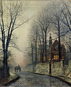 Silver Moonlight Paintings - November Moonlight by John Atkinson Grimshaw