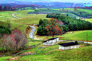 Barns North Carolina Prints - November Road I - Blue Ridge Mountains Print by Dan Carmichael