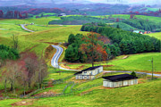 Barns North Carolina Prints - November Road II - Blue Ridge Mountains Print by Dan Carmichael