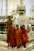 Budhist Prints - Novice Monks  Print by Eva Kato
