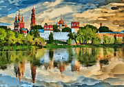 Awesome Digital Art Posters - Novodevichy Monastery in Moscow Poster by Yury Malkov