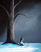 Creepy Painting Prints - Now She Wont Be Alone by Shawna Erback Print by Shawna Erback