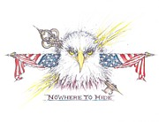 Us Flag Drawings - NoWhere To Hide by Scott and Dixie Wiley