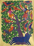 Gond Tribal Art Paintings - Npt 44 by Narmada Prasad Tekam