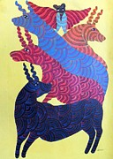 Indian Tribal Art Paintings - Npt 45 by Narmada Prasad Tekam