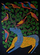 Indian Tribal Art Paintings - Npt 46 by Narmada Prasad Tekam