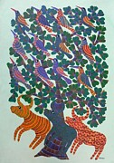 Indian Tribal Art Paintings - Npt 47 by Narmada Prasad Tekam