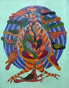 Gond Tribal Art Paintings - Npt 48 by Narmada Prasad Tekam