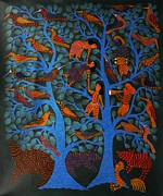 Indian Tribal Art Paintings - Npt 50 by Narmada Prasad Tekam