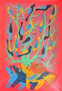 Gond Art Gallery Painting Originals - Npt 54 by Narmada Prasad Tekam