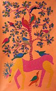Gond Tribal Art Paintings - Ns 48 by Nankusia Shyam