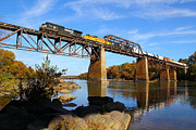 Train On Bridge Framed Prints - NS Over the Congaree Framed Print by Joseph Hinson