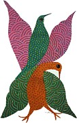 Gond Paintings - Ns40 Birds by Nankusia Shyam