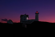York Beach Metal Prints - Nubble At Night Metal Print by Andrea Galiffi
