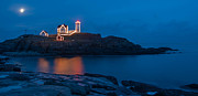 Cape Neddick Light Station Posters - Nubble At Night Poster by Guy Whiteley
