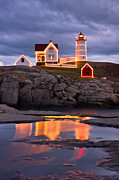 Nubble Lighthouse Framed Prints - Nubble Framed Print by Benjamin Williamson