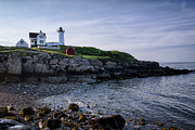 Nubble Lighthouse Framed Prints - Nubble Dawn Framed Print by Joan Carroll
