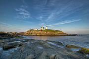 Maine Lighthouses Photo Posters - Nubble in Blue Poster by At Lands End Photography