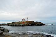 Nubble Lighthouse Prints - Nubble In Early Winter Print by Eunice Miller