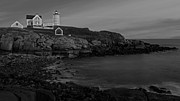 Maine Lighthouses Framed Prints - Nubble Light At Sunset BW Framed Print by Susan Candelario