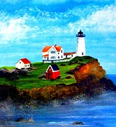 Nubble Lighthouse Paintings - Nubble Light by David Richardson