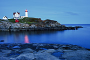 Nubble Lighthouse Posters - Nubble Light Poster by Heather Reeder