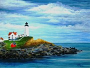 Nubble Lighthouse Paintings - Nubble Light II by David Richardson