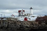 Barbara Mcdevitt Framed Prints - Nubble Light in December Framed Print by Barbara McDevitt