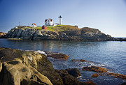 Nubble Lighthouse Framed Prints - Nubble Light Framed Print by Jim  Calarese