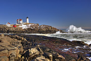East Coast Rocks Posters - Nubble Light  Poster by Joann Vitali