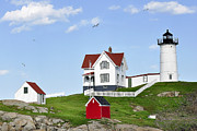 Sohier Park Framed Prints - Nubble Light Framed Print by Joanne Brown