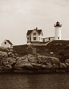 York Beach Metal Prints - Nubble Light Metal Print by Skip Willits