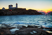 Short Sands Prints - Nubble Light Sunrise Print by Dawna  Moore Photography
