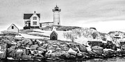 Nubble Lighthouse Framed Prints - Nubble Lighthose Framed Print by Scott Moore