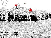 Maine Lighthouses Digital Art Prints - Nubble Lighthouse - digitized Print by Nina-Rosa Duddy