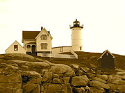 Cape Neddick Lighthouse Posters - Nubble Lighthouse 2 Poster by Denise Mazzocco