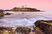York Beach Framed Prints - Nubble Lighthouse 2 Framed Print by Emmanuel Panagiotakis