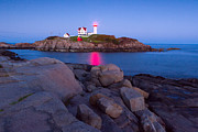 York Beach Framed Prints - Nubble Lighthouse 3 Framed Print by Emmanuel Panagiotakis