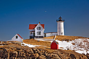 Nubble Light Framed Prints - Nubble Lighthouse 3 Framed Print by Joann Vitali