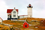 Nubble Lighthouse Framed Prints - Nubble Lighthouse Framed Print by Amazing Jules