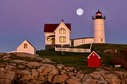 Cape Neddick Lighthouse Digital Art Posters - Nubble Lighthouse and Moon Poster by Jerry Fornarotto
