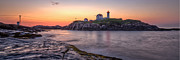 Lighthouse Framed Prints - Nubble Lighthouse Before Sunrise - Panorama Framed Print by At Lands End Photography